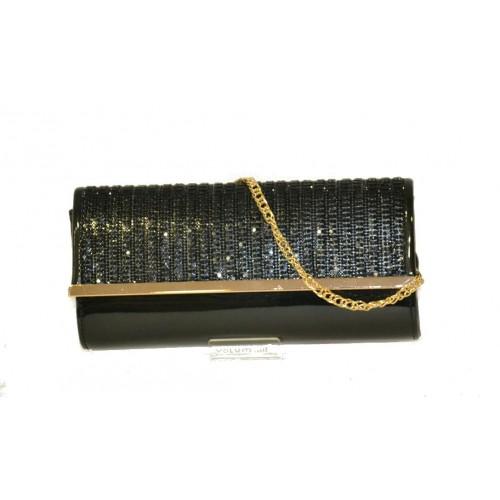 Pochette da cerimonia con pajettes nera Volum