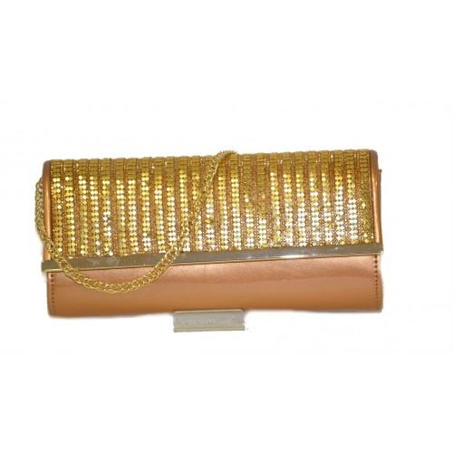 Pochette da cerimonia bronzo con applicazioni metalliche oro  Volum