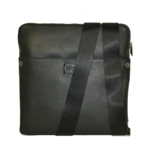 Giorgio Armani borsello uomo nero piatto grande con tracolla
