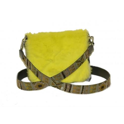 O bag borsa O pocket verde con tracolla e pattina lapin giallo
