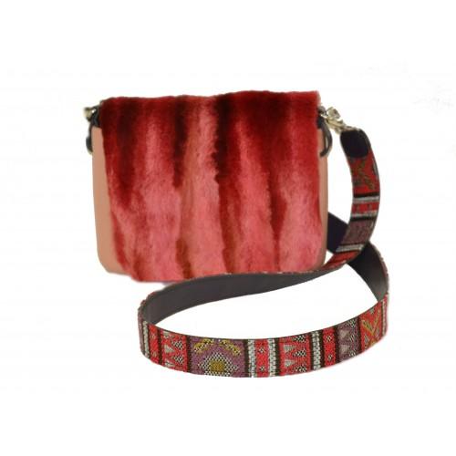 O bag borsa O pocket rosa con tracolla e pattina lapin rosso