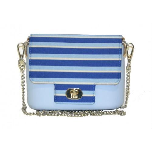 Borsa O pocket O bag con pattina a righe blu e tracolla