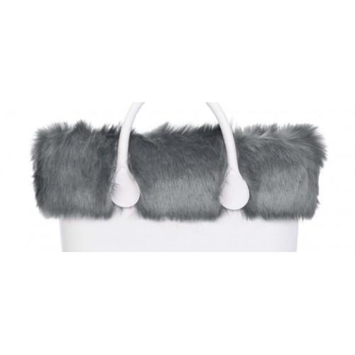 Bordo O bag eco pelliccia volpe grigio